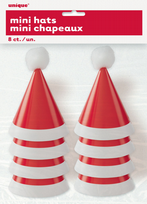 Holly Santa Mini Pom Pom Santa Party Hats (8)